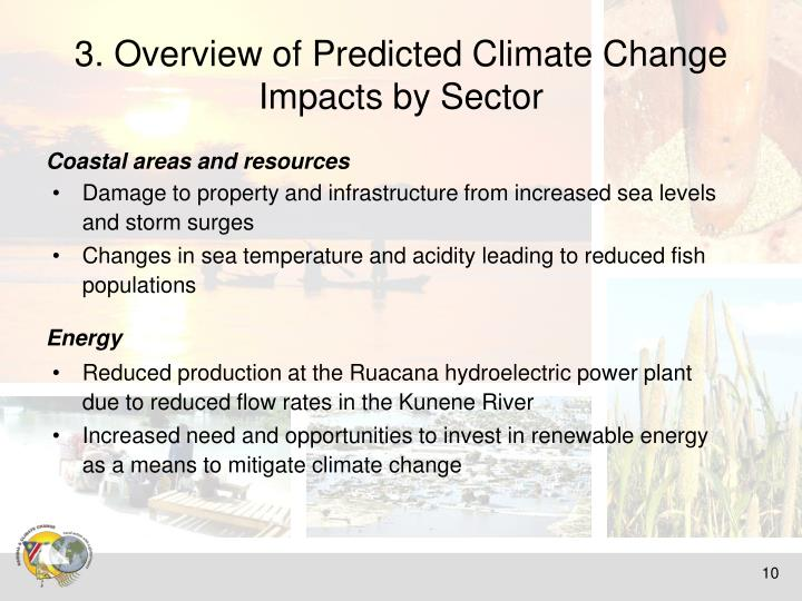 3. Overview of Predicted Climate Change  Impacts by Sector