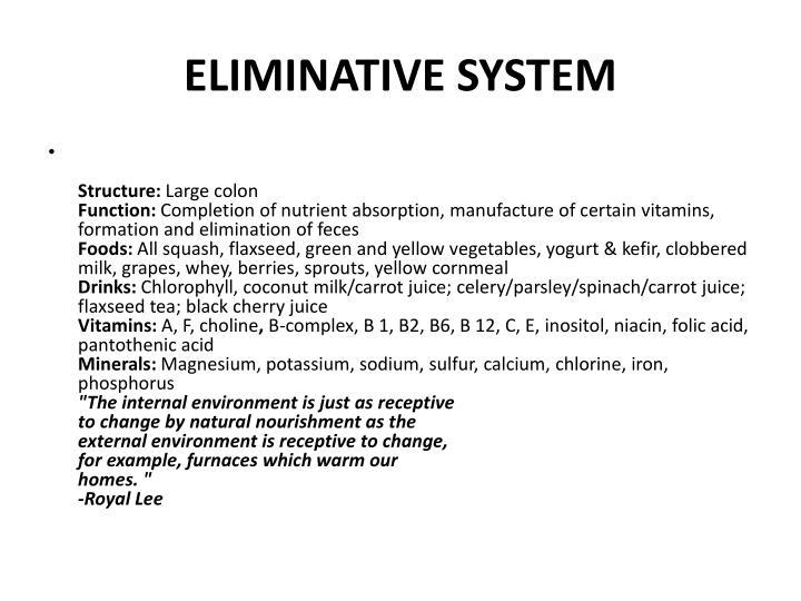 ELIMINATIVE SYSTEM