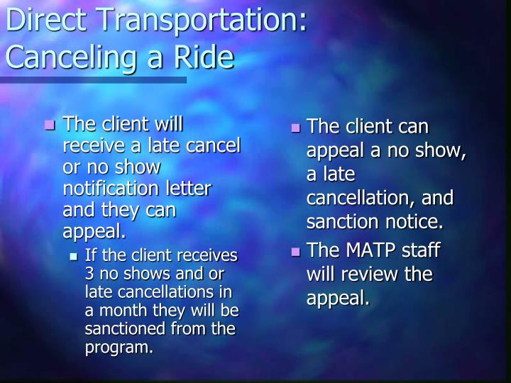 The client will receive a late cancel or no show notification letter and they can appeal.