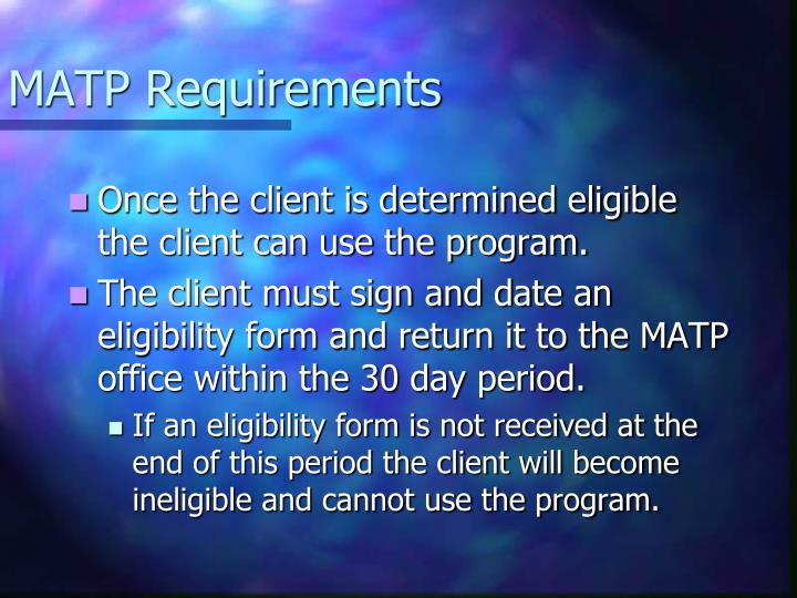 MATP Requirements