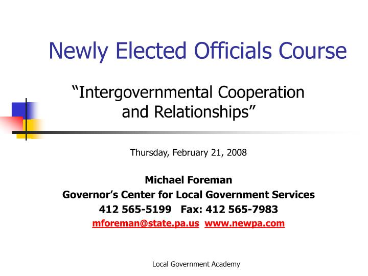 Newly Elected Officials Course