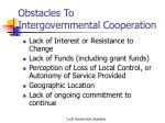 obstacles to intergovernmental cooperation1