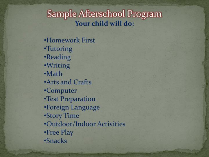 Sample Afterschool Program