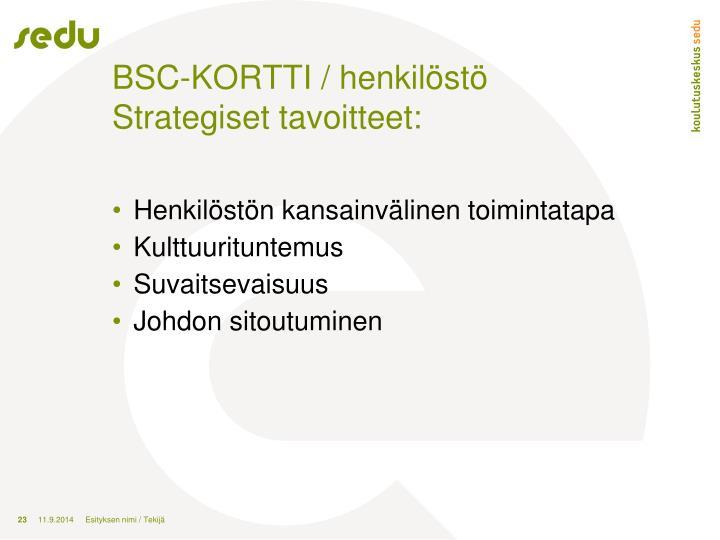 BSC-KORTTI / henkilöstö