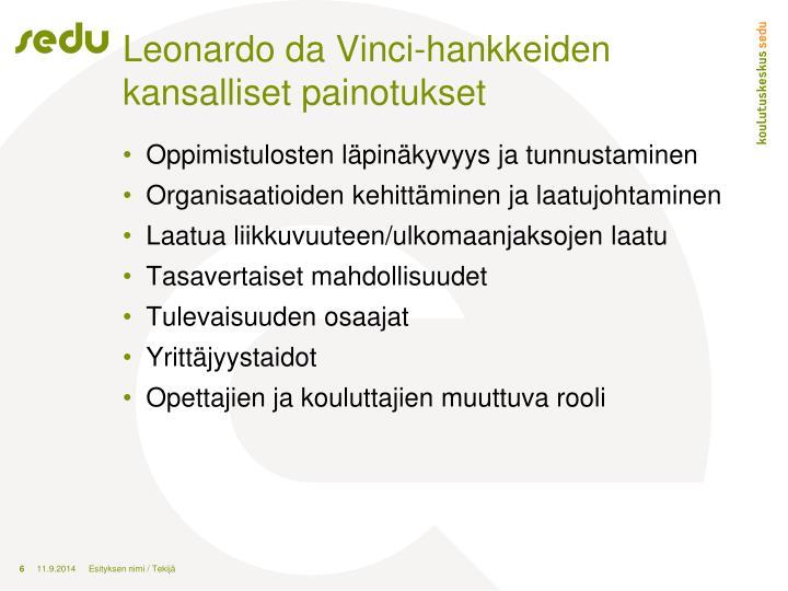 Leonardo da Vinci-hankkeiden kansalliset painotukset