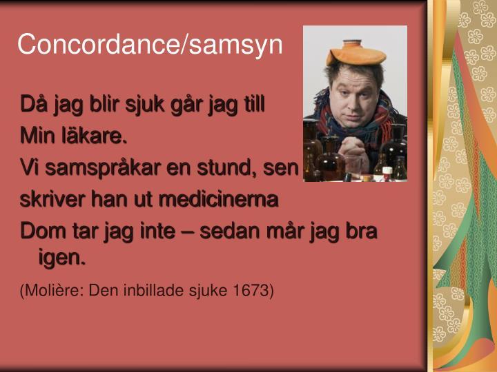 Concordance/samsyn