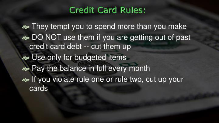 Credit Card Rules: