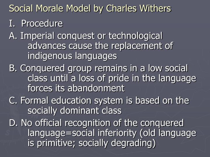 Social Morale Model by Charles Withers