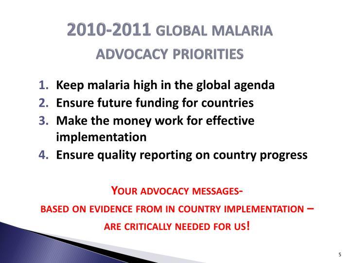 2010-2011 global malaria