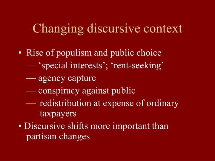 Changing discursive context