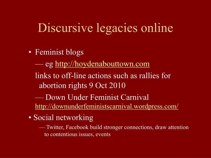 Discursive legacies online
