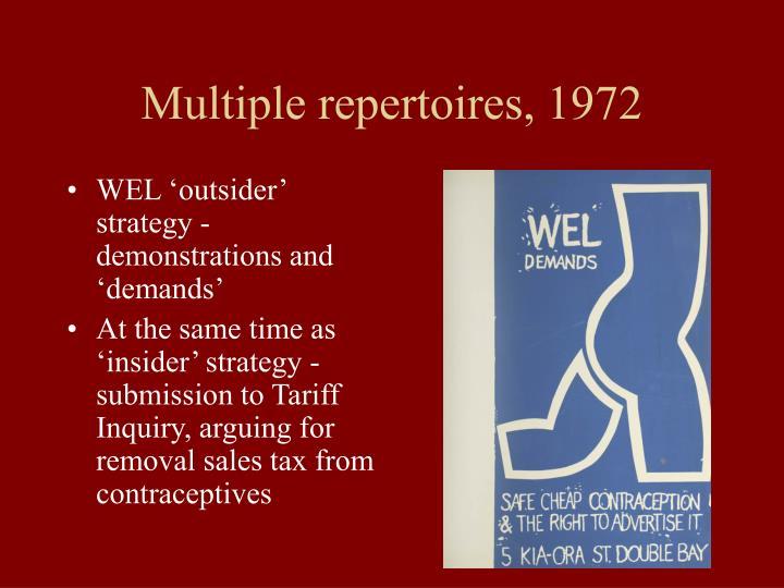 Multiple repertoires, 1972