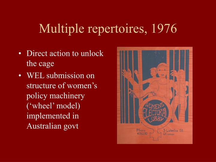 Multiple repertoires, 1976