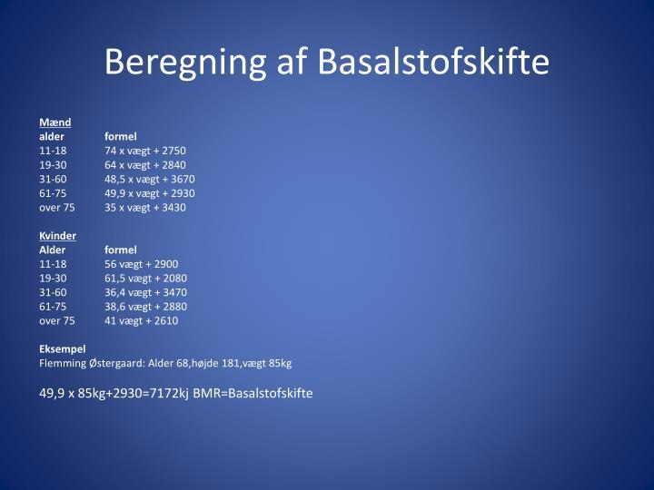 Beregning af Basalstofskifte