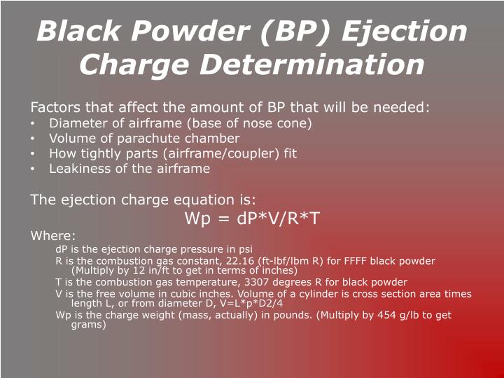 Black Powder (BP) Ejection Charge Determination
