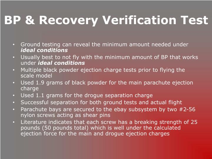 BP & Recovery Verification Test