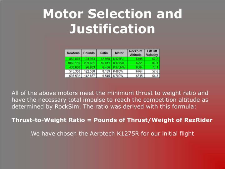 Motor Selection and Justification