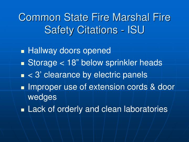 Common State Fire Marshal Fire Safety Citations - ISU