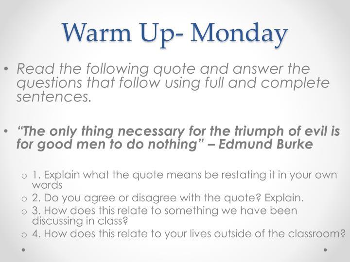 Warm Up- Monday