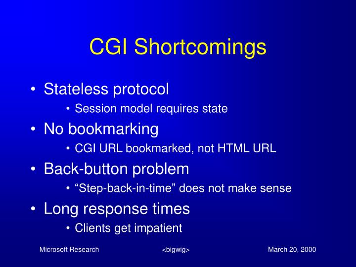 CGI Shortcomings