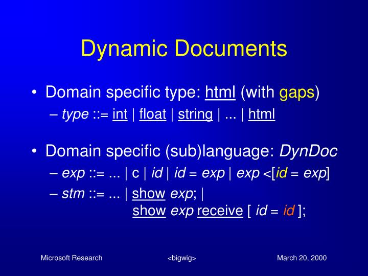 Dynamic Documents
