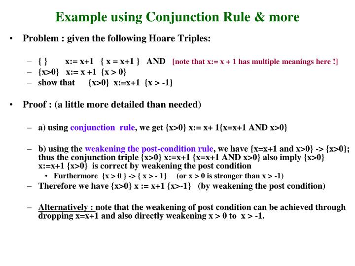 Example using Conjunction Rule & more