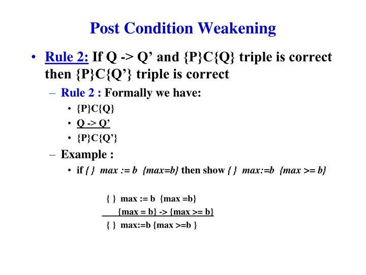 Post Condition Weakening