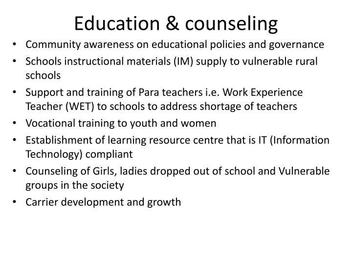Education & counseling