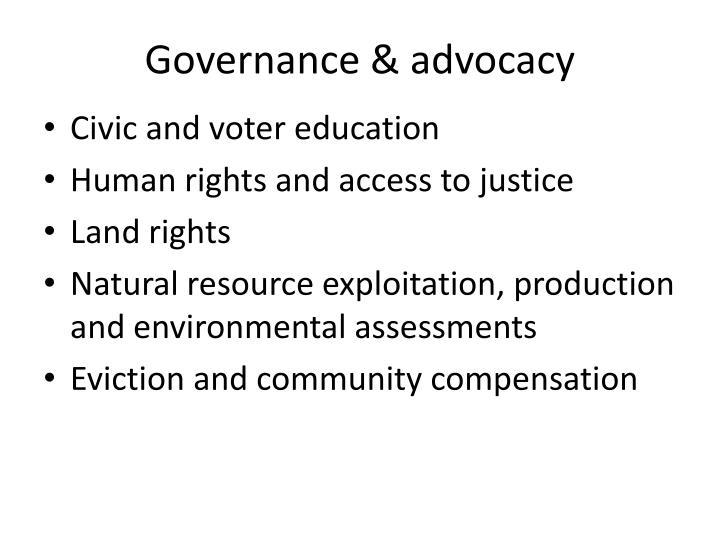 Governance & advocacy