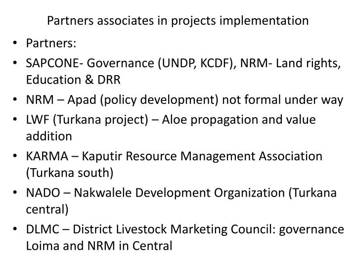 Partners associates in projects implementation