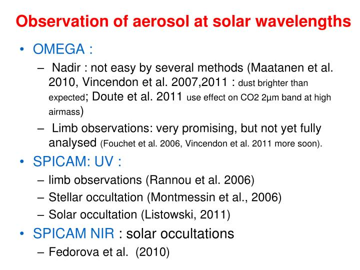 Observation of aerosol at solar wavelengths