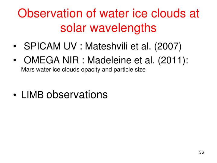 Observation of water ice clouds at solar wavelengths