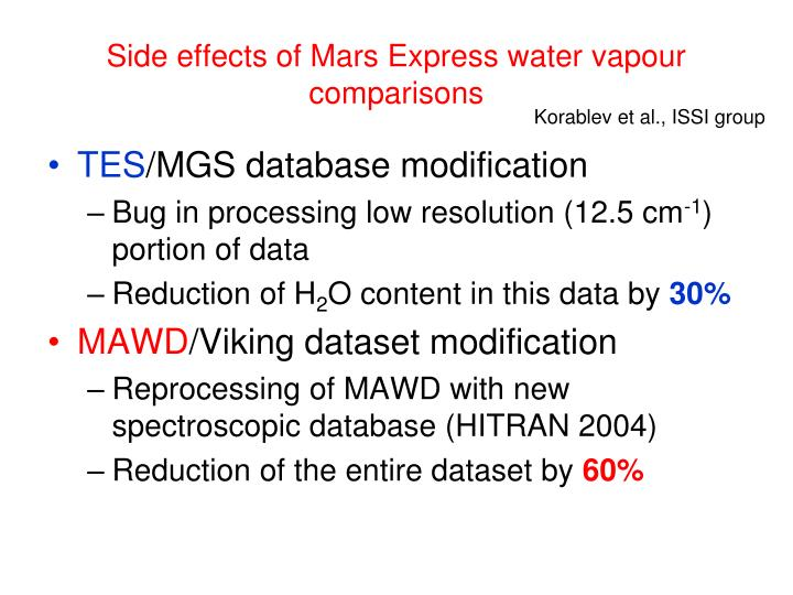Side effects of Mars Express water vapour comparisons