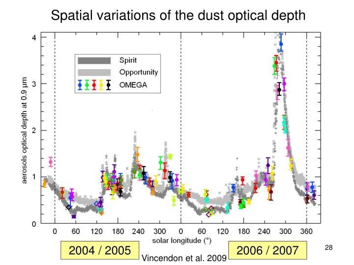 Spatial variations of the dust optical depth