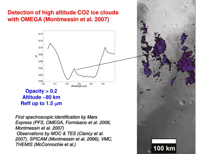 Detection of high altitude CO2 ice clouds with OMEGA (Montmessin et al. 2007)