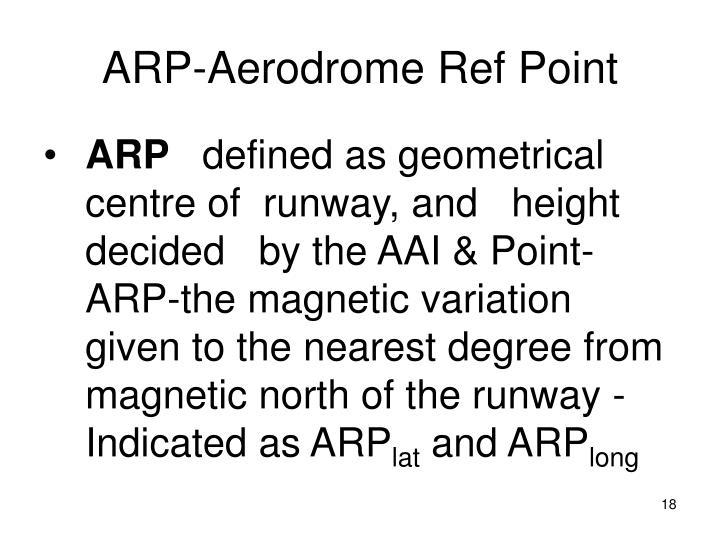 ARP-Aerodrome Ref Point