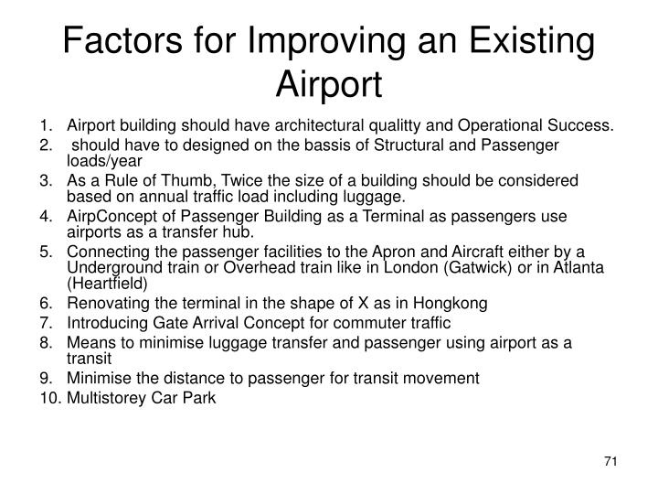 Factors for Improving an Existing Airport