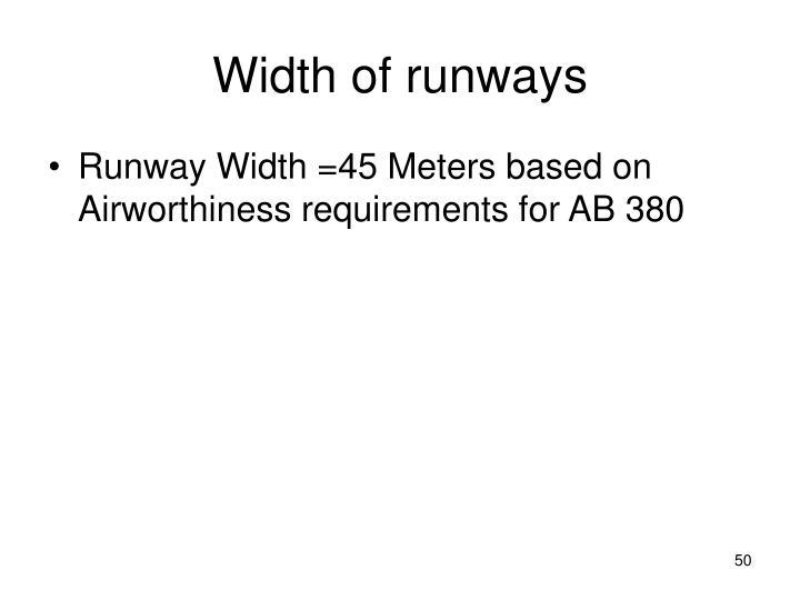 Width of runways