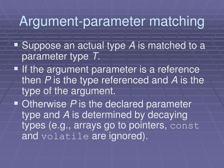 Argument-parameter matching
