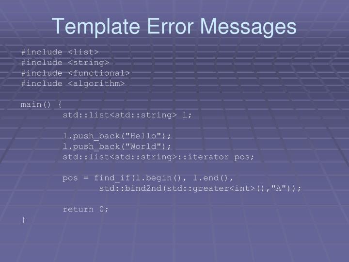 Template Error Messages