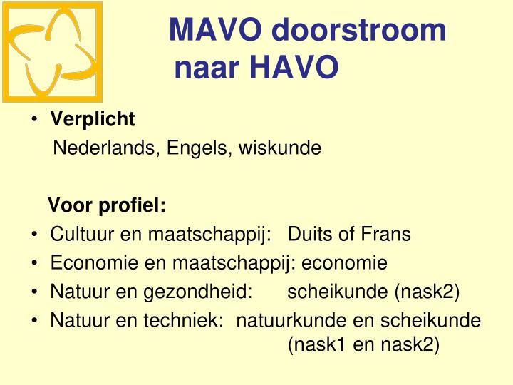 MAVO doorstroom naar HAVO