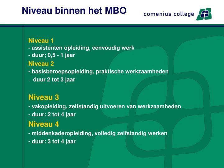 Niveau binnen het MBO