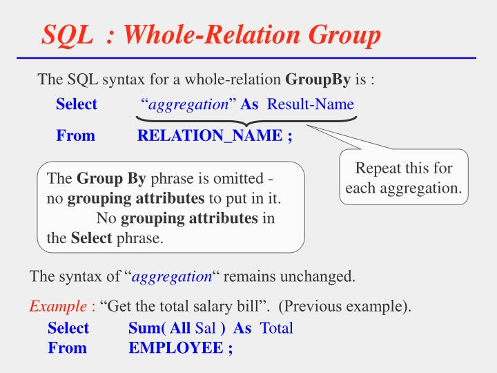 SQL  : Whole-Relation Group