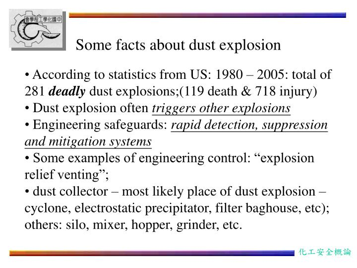 Some facts about dust explosion