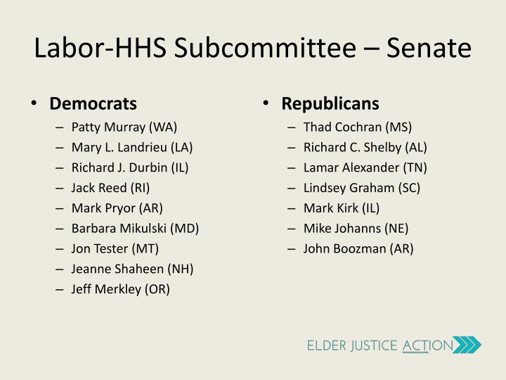 Labor-HHS Subcommittee – Senate