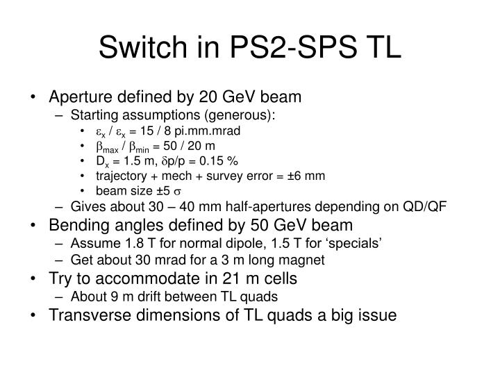 Switch in ps2 sps tl