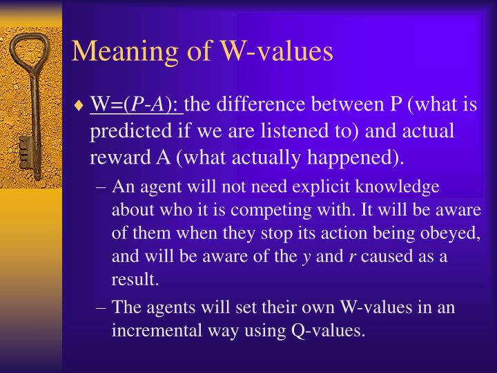 Meaning of W-values
