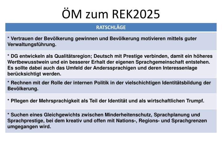 ÖM zum REK2025