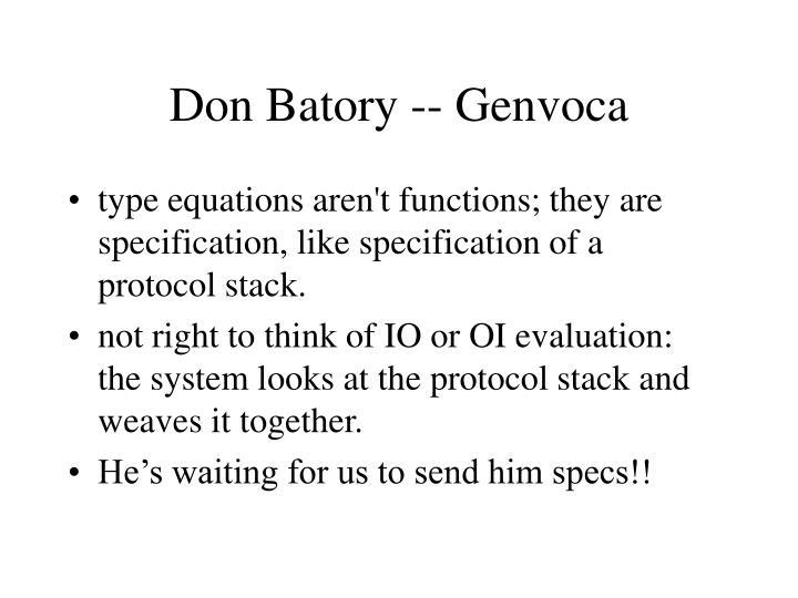 Don Batory -- Genvoca