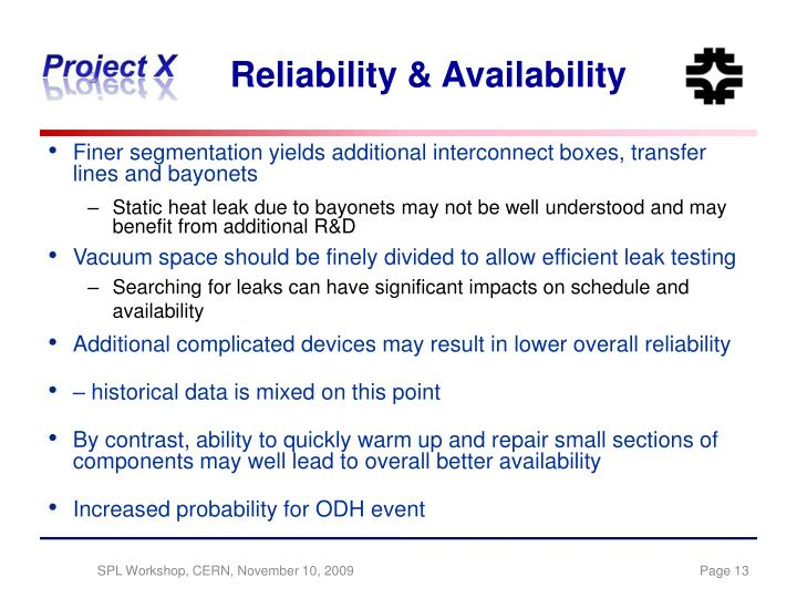 Reliability & Availability
